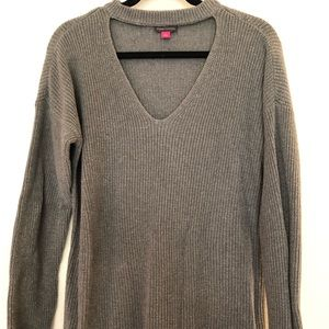 Cutout Vneck Knit Sweater